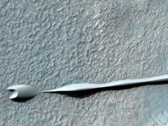 Sand dunes such as those seen in this image from NASA's Mars Reconnaissance Orbiter have been observed to creep slowly across the surface of Mars through the action of the wind.