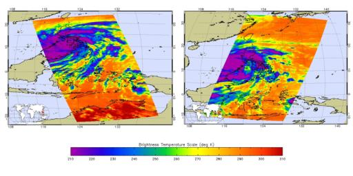 Satellite images obtained from NASA's Atmospheric Infrared Sounder (AIRS) instrument aboard NASA's Aqua spacecraft provide a glimpse into one of the most powerful storms ever recorded on Earth, Typhoon Haiyan.