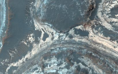 Excellent exposures of light-toned layered deposits occur along the northern edge of Hellas Basin as seen by NASA's Mars Reconnaissance Orbiter.