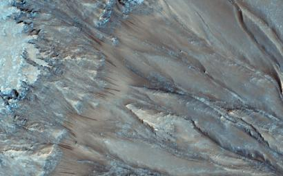 Seasonal flows on warm Martian slopes may be caused by the flow of salty water on Mars, active today when the surface is warm (above the freezing point of the solution). This observation is from NASA's Mars Reconnaissance Orbiter.