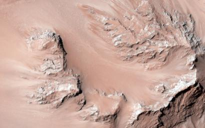 This observation from NASA's Mars Reconnaissance Orbiter shows the central hills in Hale Crater with thousands of seasonal flows on steep slopes below bedrock outcrops.