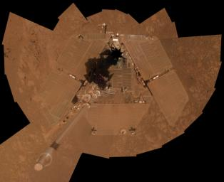 NASA's Mars Exploration Rover Opportunity recorded the component images for this self-portrait about three weeks before completing a decade of work on Mars.