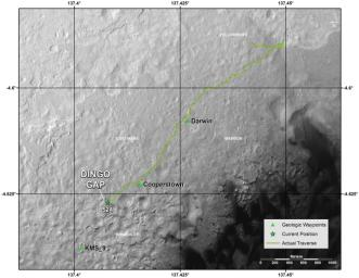 This map shows the route that NASA's Curiosity Mars rover drove inside Gale Crater from its landing in August 2013 through Jan. 26, 2004. The rover is approaching a gap between two low scarps, 'Dingo Gap.'