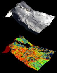 A natural color image of Mt. Lyell, the highest point in the Tuolumne River Basin (top image) is compared with a three-dimensional color composite image of Mt. Lyell from NASA's Airborne Snow Observatory depicting snow depth (bottom image).