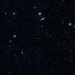 This is one of the first images captured by the revived NEOWISE mission, after more than two years of hibernation. It shows a patch of sky in the constellation Canes Venatici, or the Hunting Dogs.