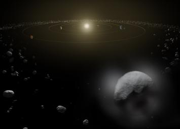 Dwarf planet Ceres is located in the main asteroid belt, between the orbits of Mars and Jupiter, as illustrated in this artist's conception.
