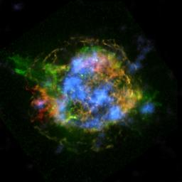 This is the first map of radioactivity in a supernova remnant, the blown-out bits and pieces of a massive star that exploded. The blue color shows radioactive material mapped in high-energy X-rays using NASA's NuSTAR.