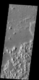 The hills in this image captured by NASA's 2001 Mars Odyssey spacecraft are part of a large region of hills located north of Hecates Tholus.