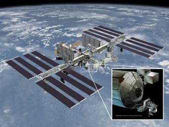 Artist's rendering of NASA's ISS-RapidScat instrument (inset), which will launch to the International Space Station in 2014 to measure ocean surface wind speed and direction and help improve weather forecasts, including hurricane monitoring.