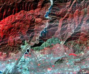 On Jan. 16, 2014, NASA's Terra spacecraft acquired this image of a wildfire broke that out in the mountains above the Los Angeles suburbs of Glendora and Azusa.