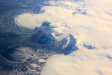 This image shows a small part of the Hofsjökull ice cap in Iceland, which encompasses several glaciers. The fan at upper left is part of a glacier called Mûlaj&oumlkul.