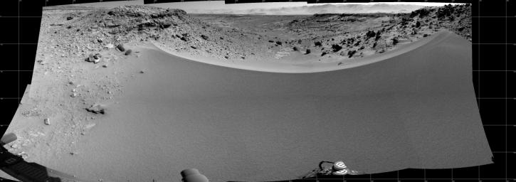 This mosaic of images from NASA's Mars rover Curiosity shows the terrain to the west from the rover's position on Jan. 30, 2014.