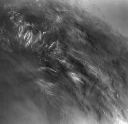 No NASA Mars orbiter has been in a position to observe morning daylight on Mars since the twin Viking orbiters of the 1970s. This image, taken by Viking Orbiter 1 on Aug. 17, 1976, shows water-ice clouds in the Valles Marineris area of equatorial Mars.