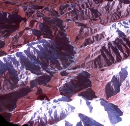 The 2014 Winter Olympic ski runs may be rated double black diamond, but they're not quite as steep as they appear in this image acquired by NASA's Terra spacecraft, of the skiing and snowboarding sites for the Sochi Winter Olympic Games.