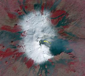 This image acquired by NASA's Terra spacecraft is of Mt. Etna, Europe's most active volcano, as it continued its latest eruptive activity with a new lava flow from the recently formed southeast crater.