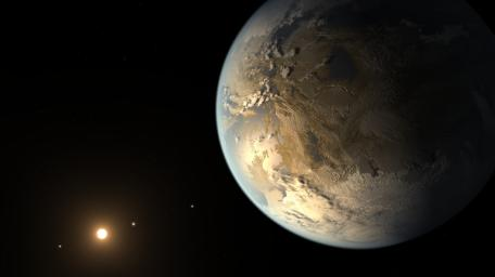 This artist's concept depicts Kepler-186f, the first validated Earth-size planet to orbit a distant star in the habitable zone, a range of distance from a star where liquid water might pool on the planet's surface.