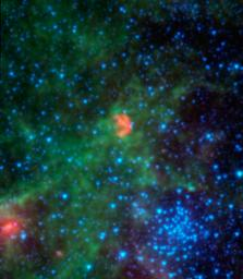 This infrared image from NASA's Spitzer Space Telescope shows N103B -- all that remains from a supernova that exploded a millennium ago in the Large Magellanic Cloud, a satellite galaxy 160,000 light-years away from our own Milky Way.