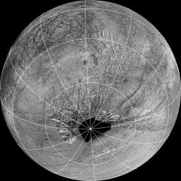 This map composed of images NASA's Galileo and Voyager missions shows the hemisphere of Europa that might be affected by plume deposits. The view is centered at -65 degrees latitude, 183 degrees longitude.