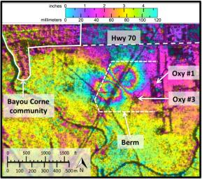 Analyses by NASA's UAVSAR radar performed after the Bayou Corne, La., sinkhole formed, show it was able to detect precursory ground surface movement of up to 10.2 inches (260 millimeters) more than a month before the sinkhole collapsed in Aug. 2012.