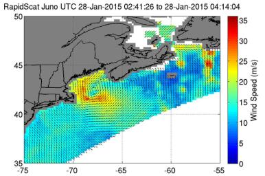 On Jan. 28, 2015 from 2:41 to 4:14 UTC, NASA's ISS-RapidScat saw the nor'easter's strongest sustained winds (red) between 56 and 67 mph (25 to 30 mps/90 to 108 kph) just off-shore from eastern Cape Cod.