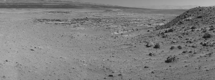 This view from NASA's Curiosity Mars rover was taken the day before the rover's final approach drive to