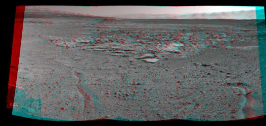NASA's Curiosity Mars rover recorded this stereo view of various rock types at waypoint called 'the Kimberley' shortly after arriving at the location on April 2, 2014. You need 3-D glasses to view this image.