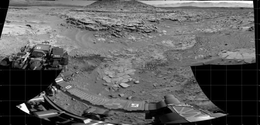 NASA's Curiosity Mars rover used its Navigation Camera (Navcam) on April 11, 2014, to record this scene of a butte called 'Mount Remarkable' and surrounding outcrops at a waypoint called 'the Kimberley' inside Gale Crater.