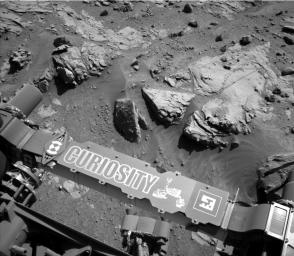 This image from the Navigation Camera on NASA's Curiosity Mars rover shows a sandstone slab on which the rover team has selected a target, 'Windjana,' for close-up examination.