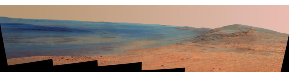 This false-color vista of the Endeavour Crater rim was acquired by NASA's Mars Exploration Rover Opportunity's panoramic camera on April 18, 2014, from 'Murray Ridge' on the western rim of the crater.