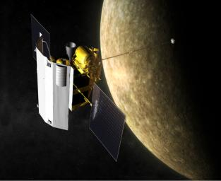 Artist's impression of NASA's MErcury Surface, Space ENvironment, GEochemistry, and Ranging (MESSENGER) spacecraft in orbit at Mercury.
