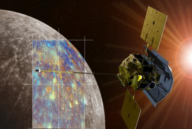 An artist's rendering of the MESSENGER spacecraft is shown passing near the crater Hokusai and its extensive system of rays. Both the monochrome and enhanced color views of Mercury were obtained during MESSENGER's second Mercury flyby.