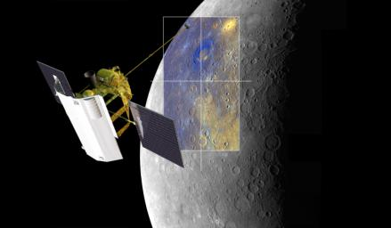 A depiction of NASA's MESSENGER spacecraft is shown viewing the Rachmaninoff basin.