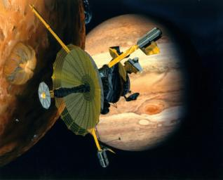 Artist's rendering of NASA's Galileo spacecraft flying past Jupiter's moon Io. Galileo made multiple close approaches to the volcanically active moon during its time at Jupiter.