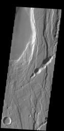 This complexly faulted region is part of Ceraunius Fossae, located south of Alba Mons. This image was captured by NASA's 2001 Mars Odyssey spacecraft.