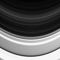 Not all of Saturn's rings are created equal: here the C and D rings appear side-by-side, but the C ring, which occupies the bottom half of this image, clearly outshines its neighbor. This image is from NASA's Cassini spacecraft.