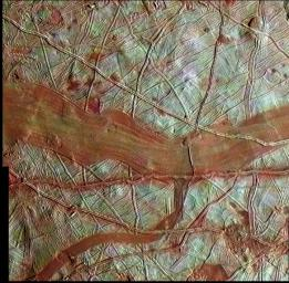 This colorized image of Europa is a product of clear-filter grayscale data from one orbit of NASA's Galileo spacecraft, combined with lower-resolution color data taken on a different orbit.