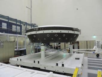 The main structural body of the second flight test vehicle in NASA's Low-Density Supersonic Decelerator (LDSD) project is seen during its assembly in a cleanroom at NASA's Jet Propulsion Laboratory.