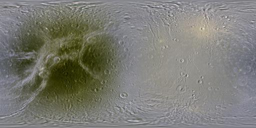 This set of global, color mosaics of Saturn's moon Dione taken by NASA's Cassini spacecraft during its first ten years exploring the Saturn system; obvious feature on the maps is the difference in color and brightness between the two hemispheres.