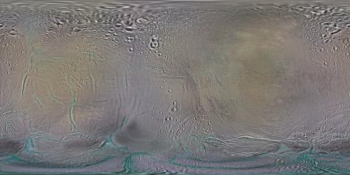 This set of global, color mosaics of Saturn's moon Enceladus was produced from images taken by NASA's Cassini spacecraft during its first ten years exploring the Saturn system.