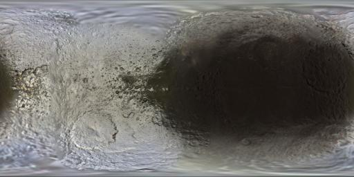 This set of global, color mosaics of Saturn's moon Iapetus was produced from images taken by NASA's Cassini spacecraft during its first ten years exploring the Saturn system.