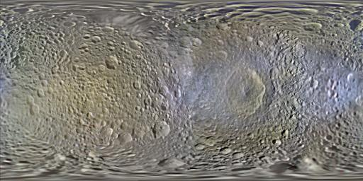 This set of global, color mosaics of Saturn's moon Mimas was produced from images taken by NASA's Cassini spacecraft during its first ten years exploring the Saturn system.