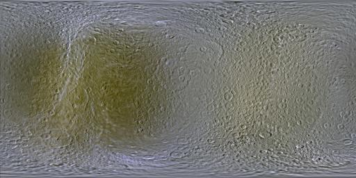 This set of global, color mosaics of Saturn's moon Rhea was produced from images taken by NASA's Cassini spacecraft during its first ten years exploring the Saturn system.