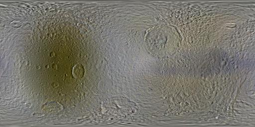 This set of global, color mosaics of Saturn's moon Tethys was produced from images taken by NASA's Cassini spacecraft during its first ten years exploring the Saturn system.