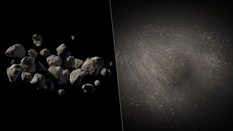 Illustrated in this artist's concept are two possible structures for asteroid 2011 MD. NASA's Spitzer infrared camera helped reveal that this asteroid consists of about two-thirds empty space.