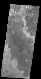 The dark lobed material in this image from NASA's 2001 Mars Odyssey spacecraft is a lava flow located northwest of the Elysium Volcanic Complex.