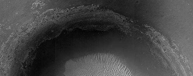 This crater, seen NASA's Mars Reconnaissance Orbiter, is located in Meridiani Planum, about 20-kilometers northwest of where NASA's Opportunity rover landed in 2004 and about 42-kilometers northwest of Endeavour Crater's rim.