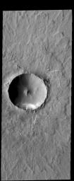 This image from NASA's 2001 Mars Odyssey spacecraft shows Lonar Crater. This crater has undergone very little modification since it formed, and so is one of the younger features in this region.