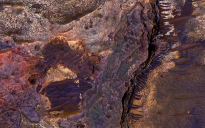 This image from NASA's Mars Reconnaissance Orbiter covers layered sedimentary rocks on the floor of an impact crater north of Eberswalde Crater. There may have been a lake in this crater billions of years ago.