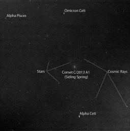 Researchers used the Pancam on NASA's Mars Exploration Rover Opportunity to capture this view of comet C/2013 A1 Siding Spring as it flew near Mars on Oct. 19, 2014.