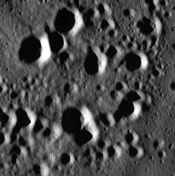 MESSENGER Gets Closer to Mercury than Ever Before. This image is one of the highest resolution images taken by NASA's MESSENGER spacecraft to date. It features a field of secondary craters in Mercury's northern smooth plains.